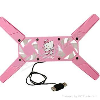 hello kitty Portable Cooling Pad for laptop notebook-2 fan