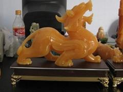 Yellow jade PIXIU   Jadeite  Buddha Pendant