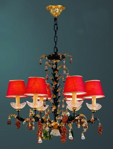 Red Lampshade Chandelier 1 2