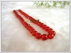 供應天然精品紅瑪瑙項鏈6-12mm 小額批發