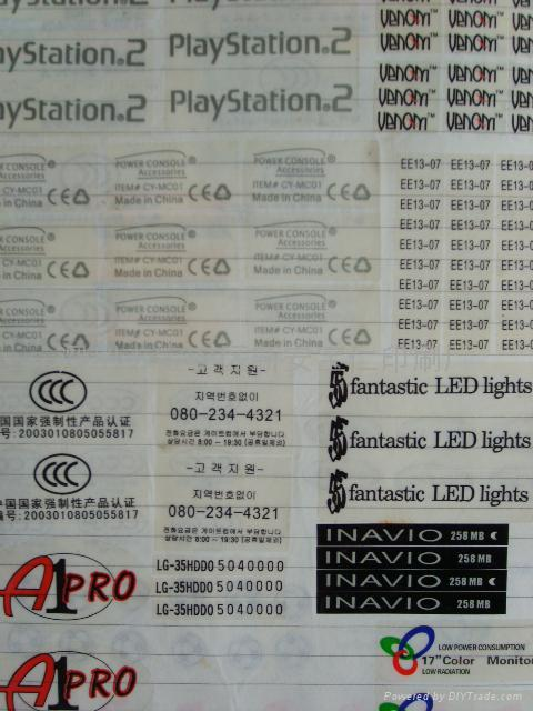Transparent trademark stickers