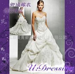 卿城婚紗禮服定製~繡花宮廷款嫁衣拍照婚禮絕美新娘