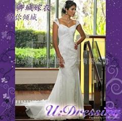 魚尾款蕾絲雪紡漂亮婚紗嫁衣~拍照婚禮性感新娘