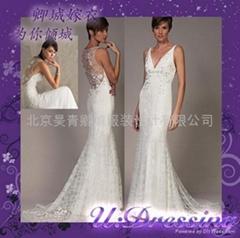全蕾絲露背魚尾修身款婚紗嫁衣~拍照婚禮浪漫新娘