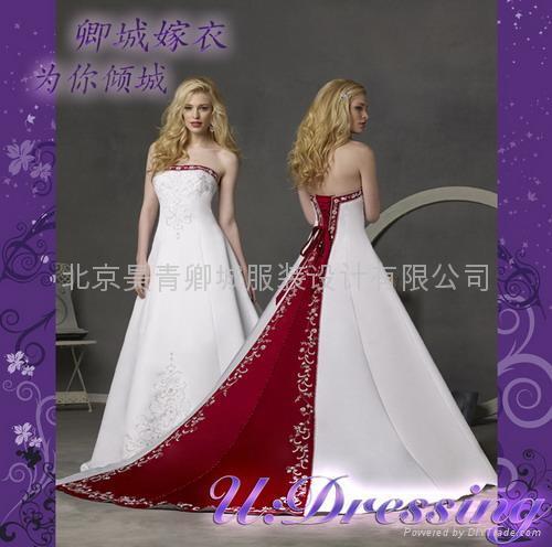 卿城婚紗禮服定製~劉濤同款拖尾繡花婚紗~拍照婚禮 1