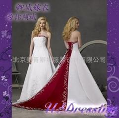 卿城婚紗禮服定製~劉濤同款拖尾繡花婚紗~拍照婚禮