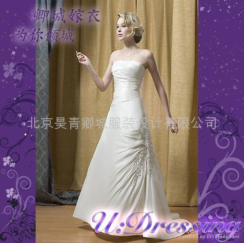 排花簡潔修身款婚紗嫁衣~拍照婚禮別緻新娘 1