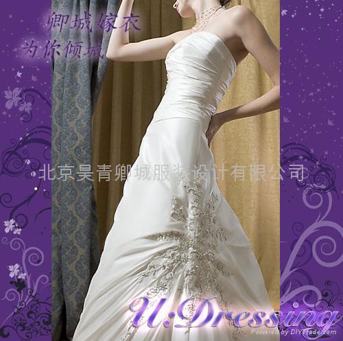 排花簡潔修身款婚紗嫁衣~拍照婚禮別緻新娘 2
