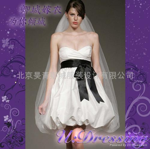 卿城婚紗禮服定製~短款花苞型嫁衣~拍照婚禮動感精靈新娘 1