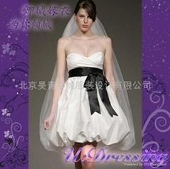 卿城婚紗禮服定製~短款花苞型嫁衣~拍照婚禮動感精靈新娘