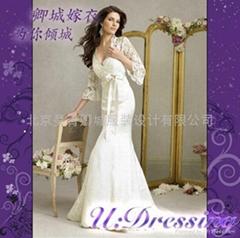 卿城婚紗禮服定製~蕾絲七分袖深V領魚尾款嫁衣拍照嫵媚新娘
