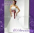 卿城婚紗禮服定製~抹胸款紅色腰