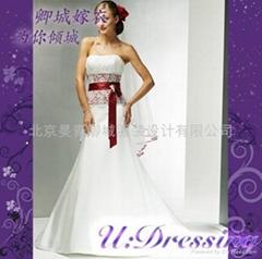 卿城婚紗禮服定製~抹胸款紅色腰帶嫁衣~拍照婚禮佛朗明哥式