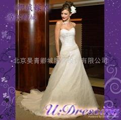 卿城婚紗禮服定製~抹胸款大拖尾嫁衣~拍照婚禮迷人新娘