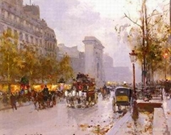 Streetscape oil painting