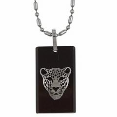 不锈钢豹脸黑色项链
