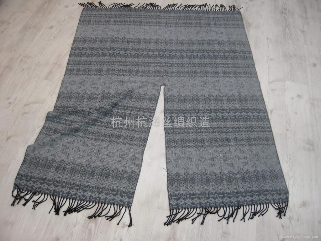時尚女士羊毛圍巾,羊絨真絲披肩 2