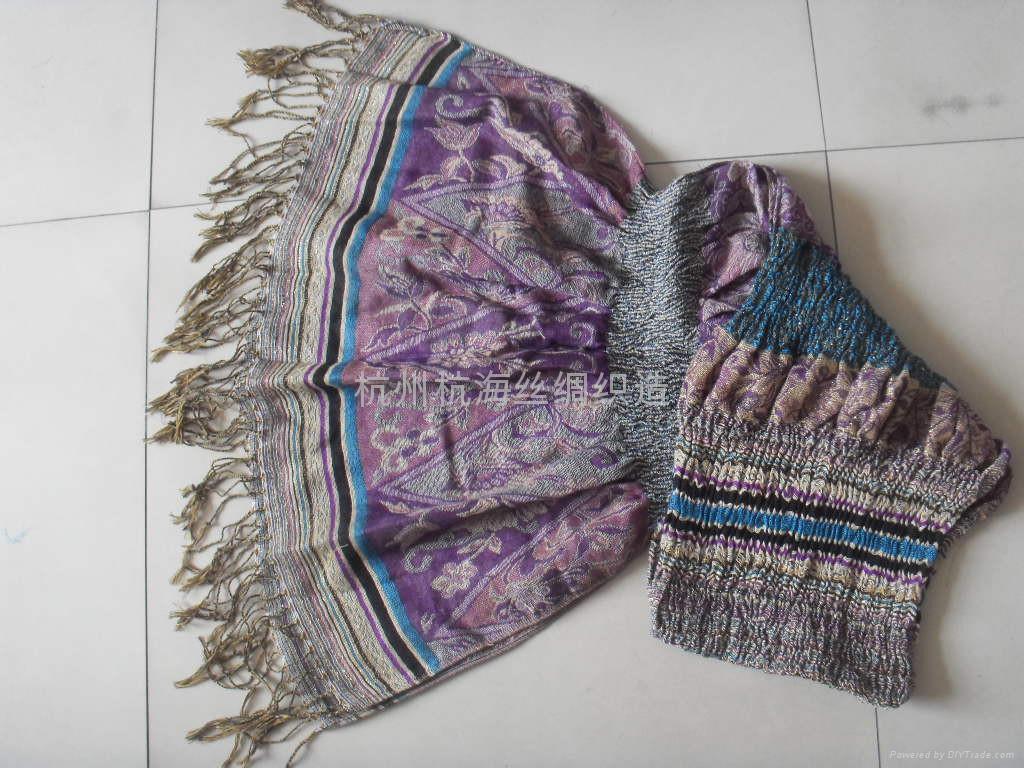 時尚女士羊毛圍巾,羊絨真絲圍巾皺巾 1