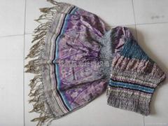 时尚女士羊毛围巾,羊绒真丝围巾皱巾