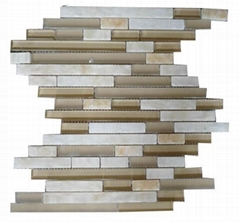 Marble mix glass mosaic tile 8mm thickness