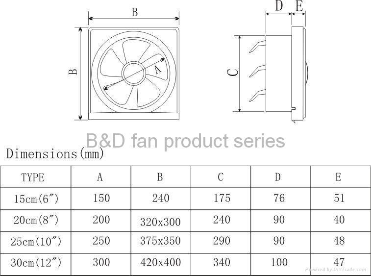 Louver Type Exhaust Fan Full Plastic Type Apb B Oem