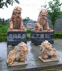 现货晚霞红石狮子雕刻
