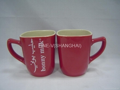 Ceramic square coffee and tea cup/mug with double glaze