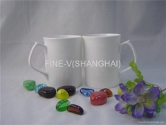 White bone china coffee cup and mug with a specail handle