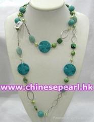 淡水珍珠项链,松石项链,铜链