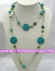 Freshwater pearl necklace with turquoise, stabilished turquoise and amazonite