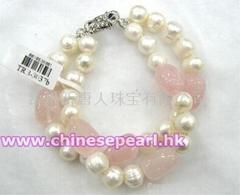 淡水珍珠手链,粉晶手链