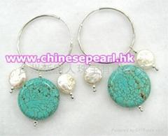 珍珠耳环,松石耳环