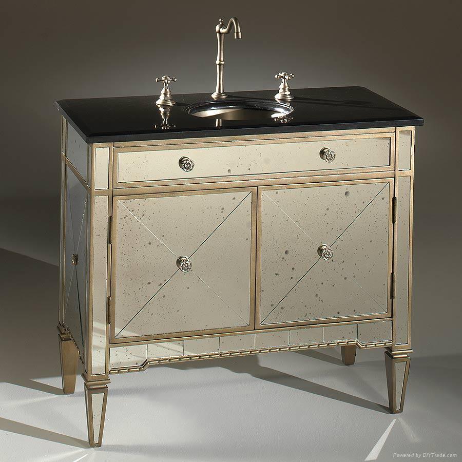 Antique bathroom vanity with mirror - Bathroom Vanity W Antique Mirror Panel 1 Bathroom Vanity W Antique Mirror