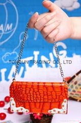 luxury crocodile design handbag case with diamond for IPhone 5