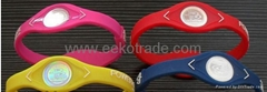 Power Balance Clear/Purple Silicone Wristband, Med.