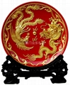 Dragon and  Phoenix Red Plate-Celestial Sphere 1