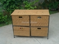 HW834C 4 Cases Steel Frame Rattan Weave Cabinet Furniture