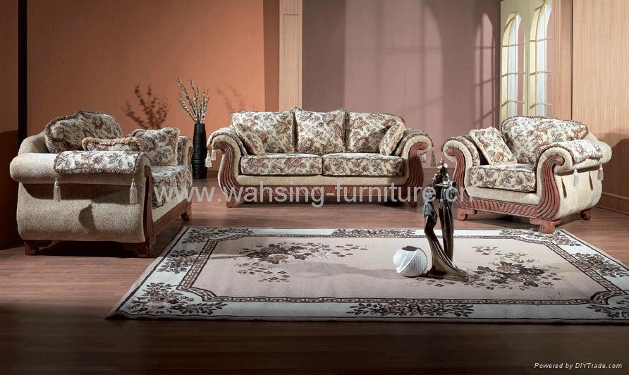Antique Royal Solid Wood Furniture Leather/fabric Sofa Set Living Room  Furniture 1 ...