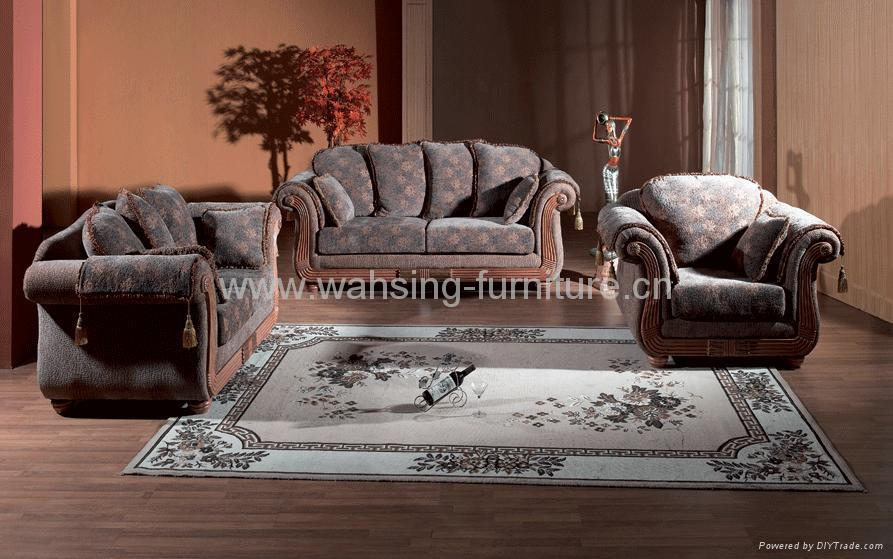 Antique royal solid wood furniture leather/fabric sofa set ...