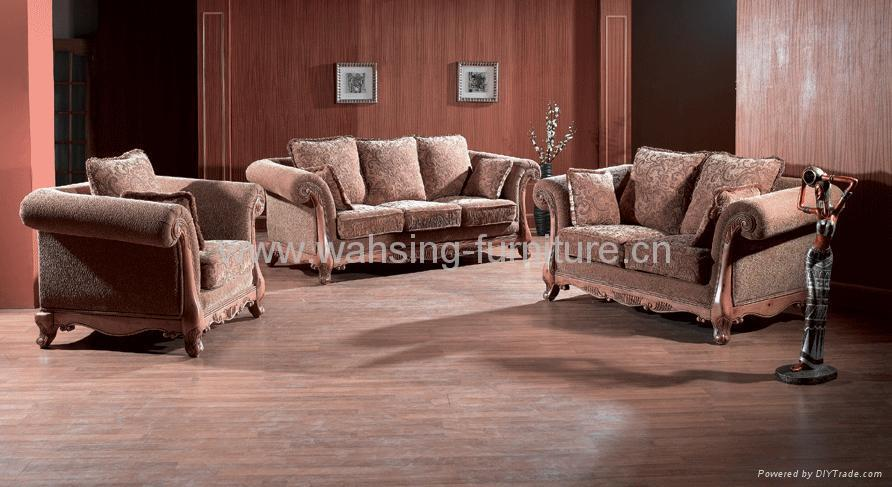 Antique Royal Solid Wood Furniture Leather Fabric Sofa Set Living Room Furniture B212 218