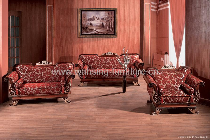 vintage living room furniture sets antique royal solid wood furniture leather fabric sofa set 21514