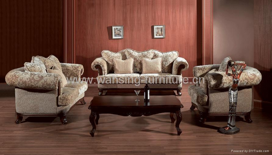 Antique royal solid wood furniture leather/fabric sofa set living ...