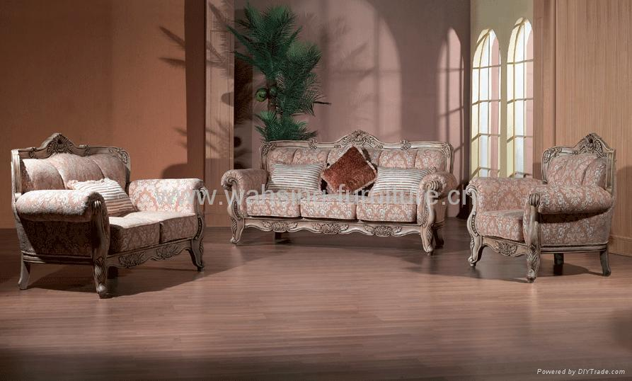 Antique Royal Solid Wood Furniture Leather Fabric Sofa Set Living Room Furniture B219 223