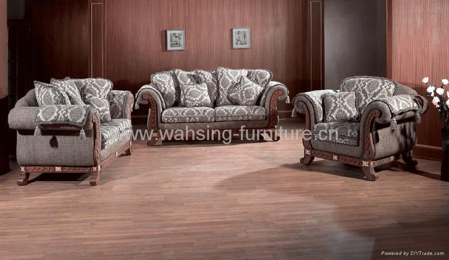 Gallery antique sofa sets for Leather and fabric living room sets