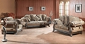 Antique royal solid wood furniture leather/fabric sofa set ...