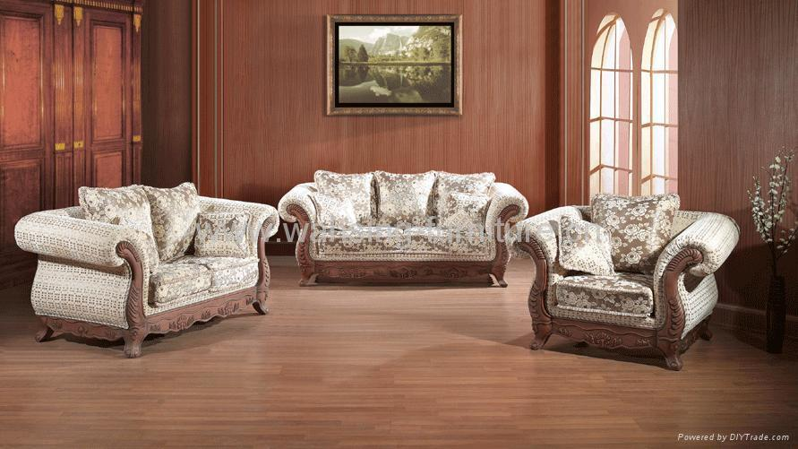 Antique Royal Solid Wood Furniture Leather Fabric Sofa Set Living Room 3