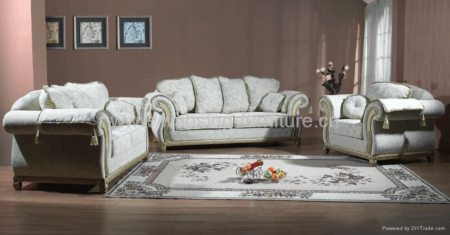 Solid Wood Furniture Leather Fabric Sofa Set Living Room Furniture
