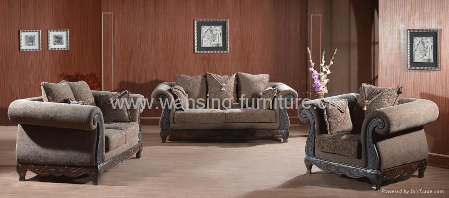 leather and fabric living room furniture antique royal solid wood furniture leather fabric sofa set 26352
