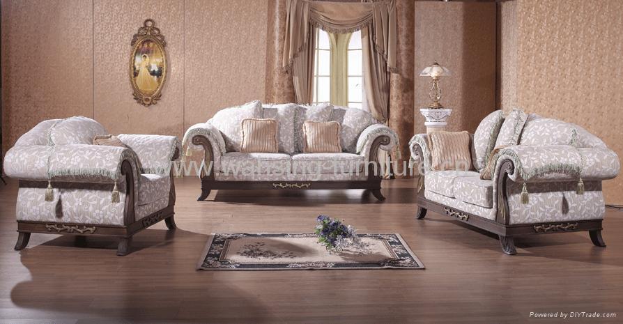 Antique Royal Solid Wood Furniture Leather Fabric Sofa Set Living Room Furnit