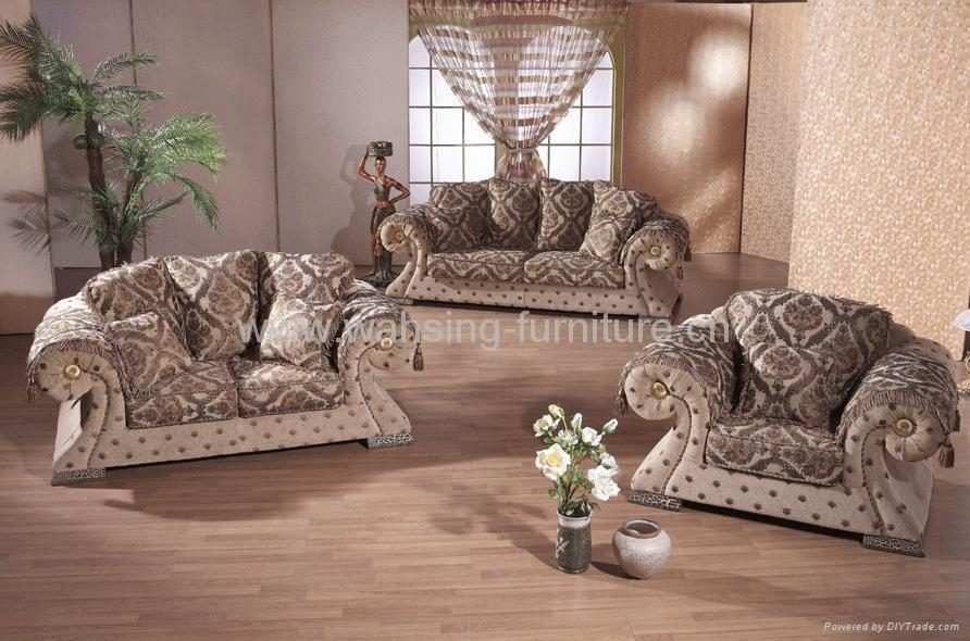 Antique Royal Solid Wood Furniture Leather Fabric Sofa Set Living Room